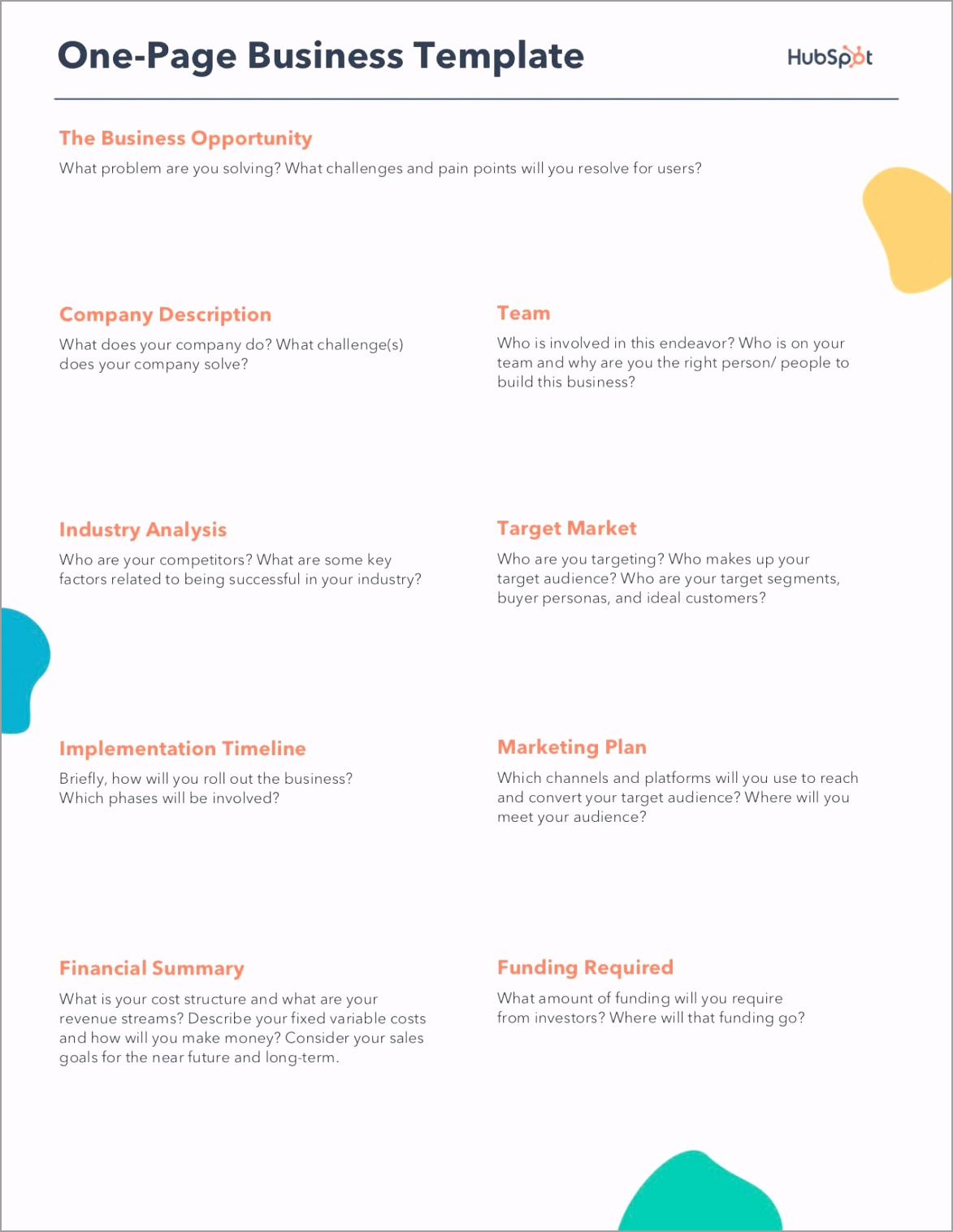 e Page Business Plan Template oulat