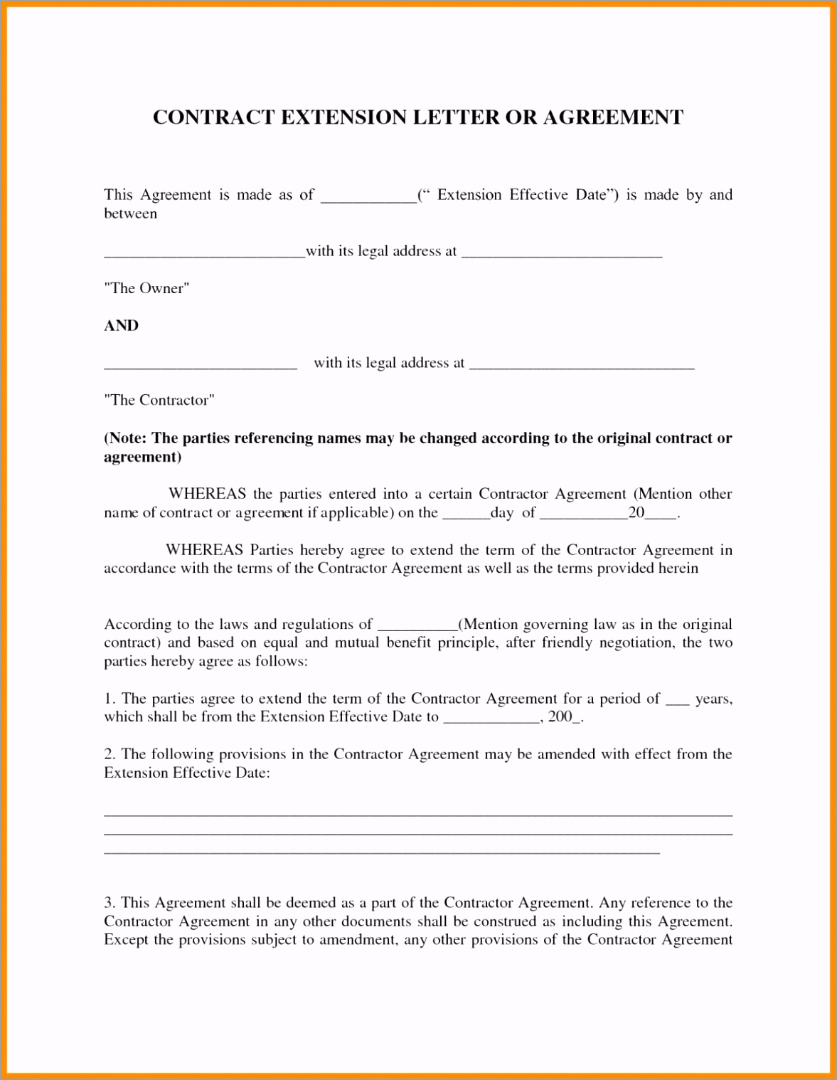 Contract Extension Agreement Letter Example terwe