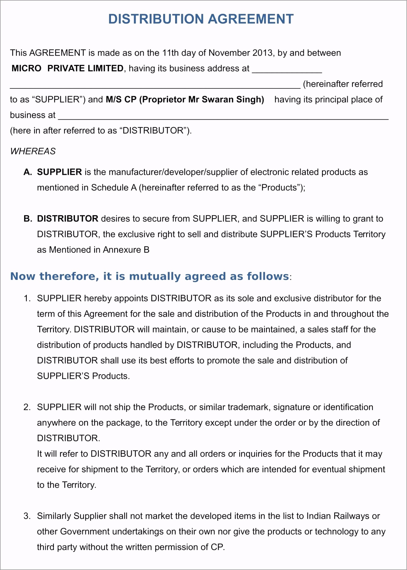 distributor agreement 1 pitaa
