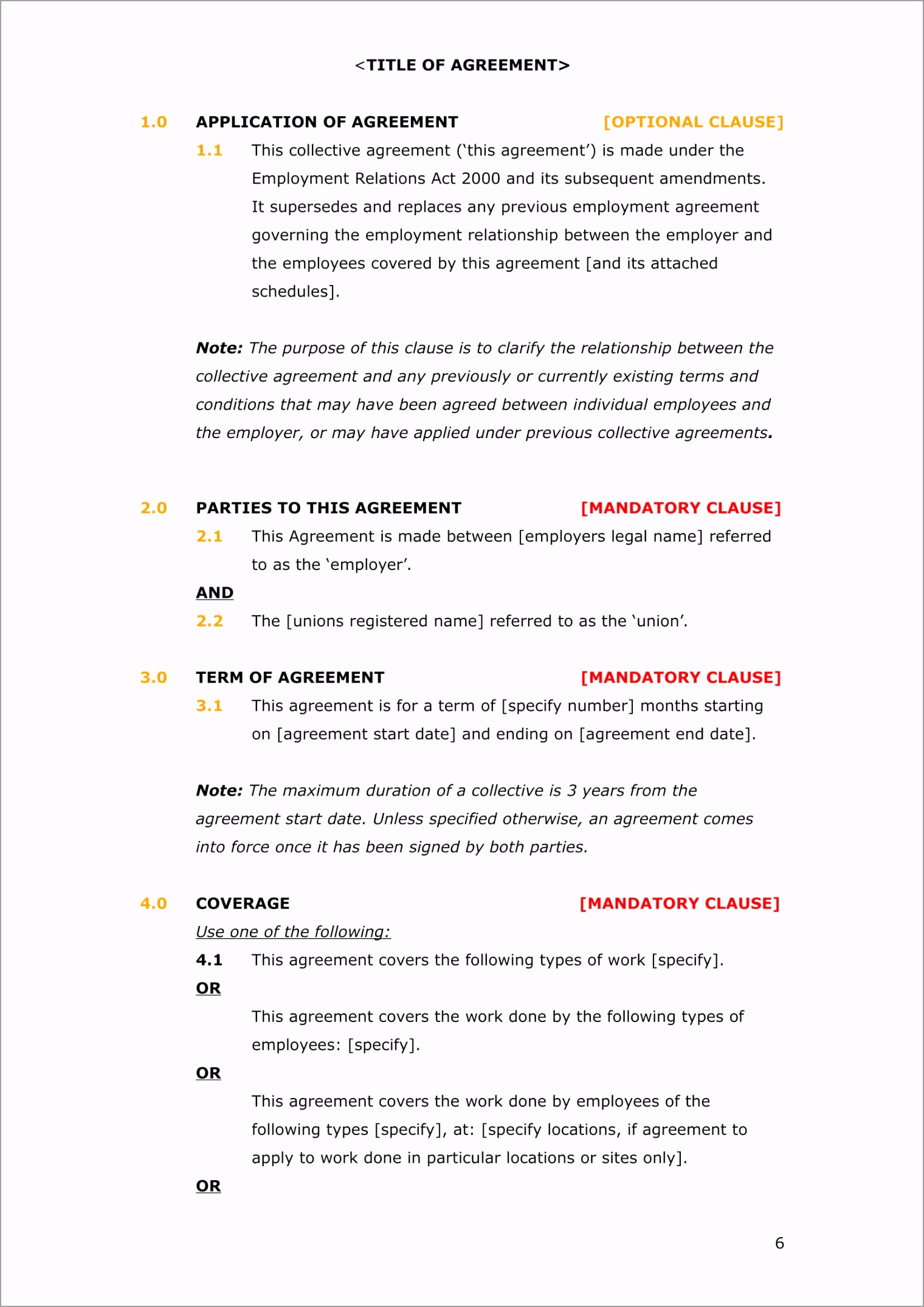 Collective Employment Agreement Template 06 uitpr