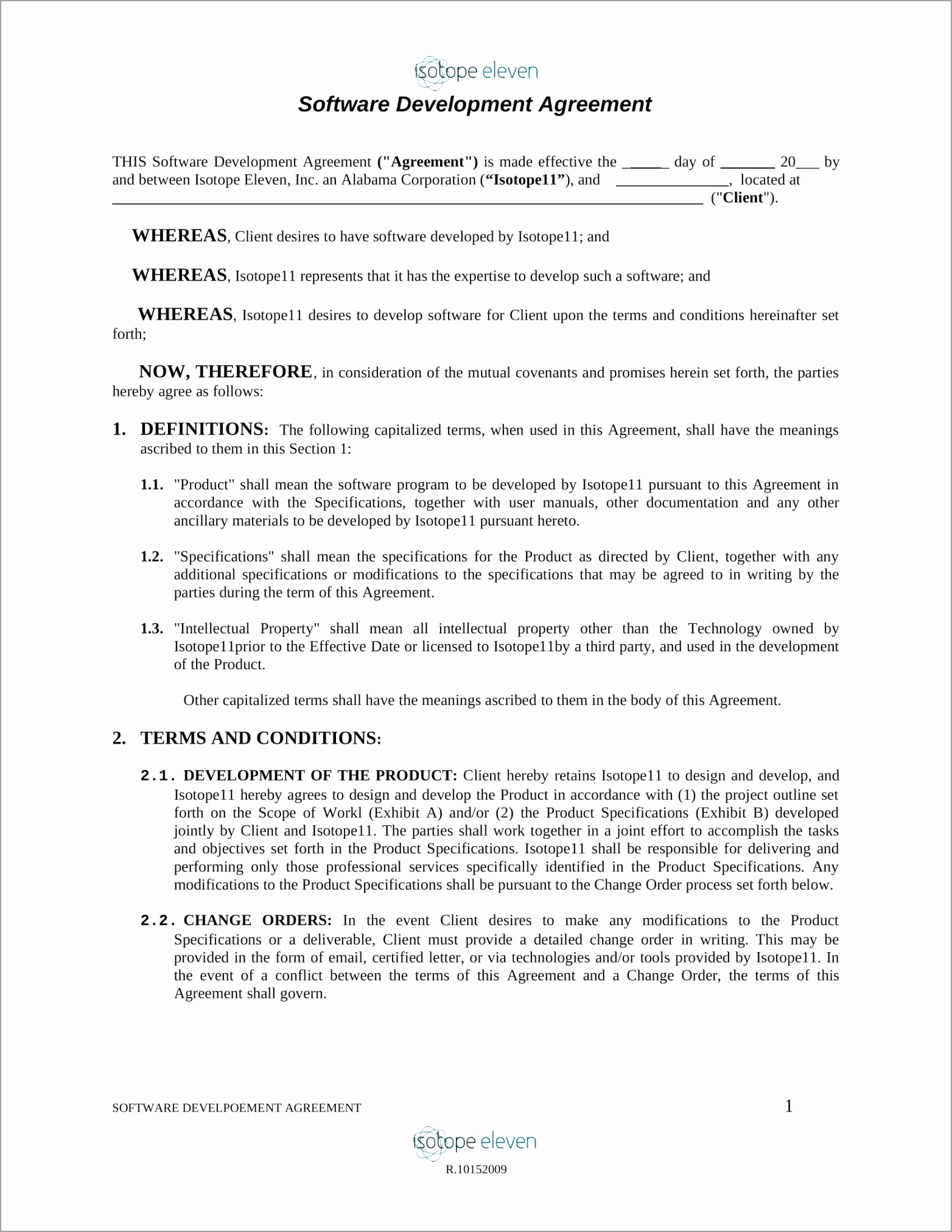 Software Development Agreement Contract Form 1 owuat