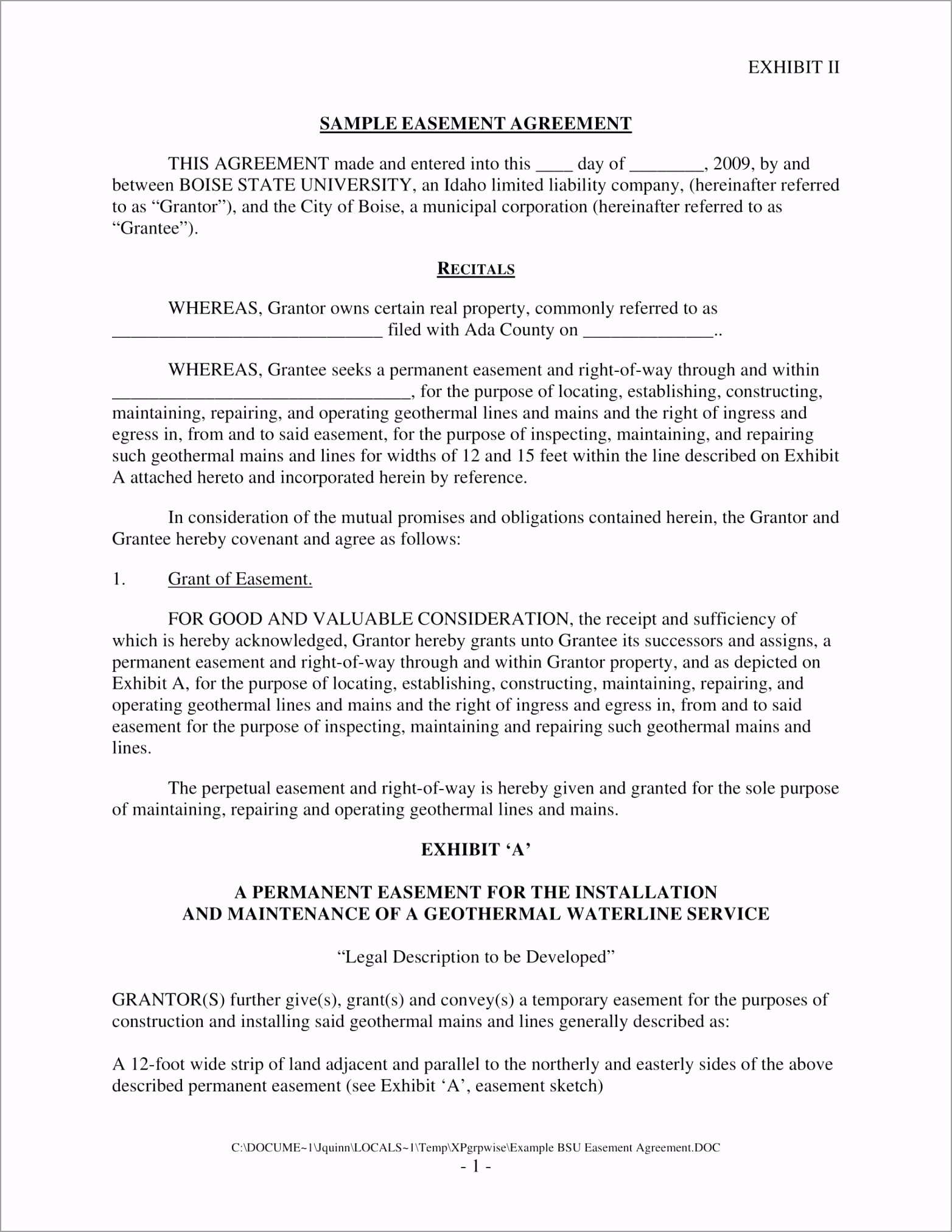 Easement Agreement Contract Form Sample 1 urpie