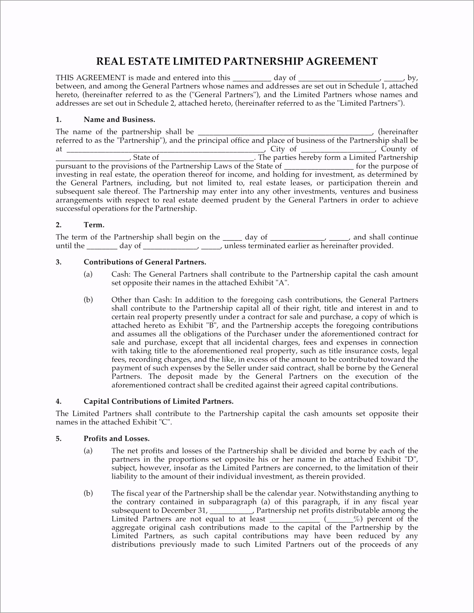 Real Estate Limited Partnership Agreement Example iioie