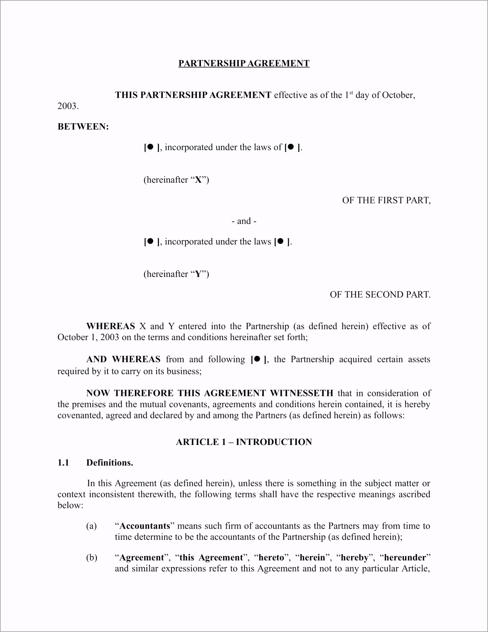 General Partnership Agreement Form 02 wqaot