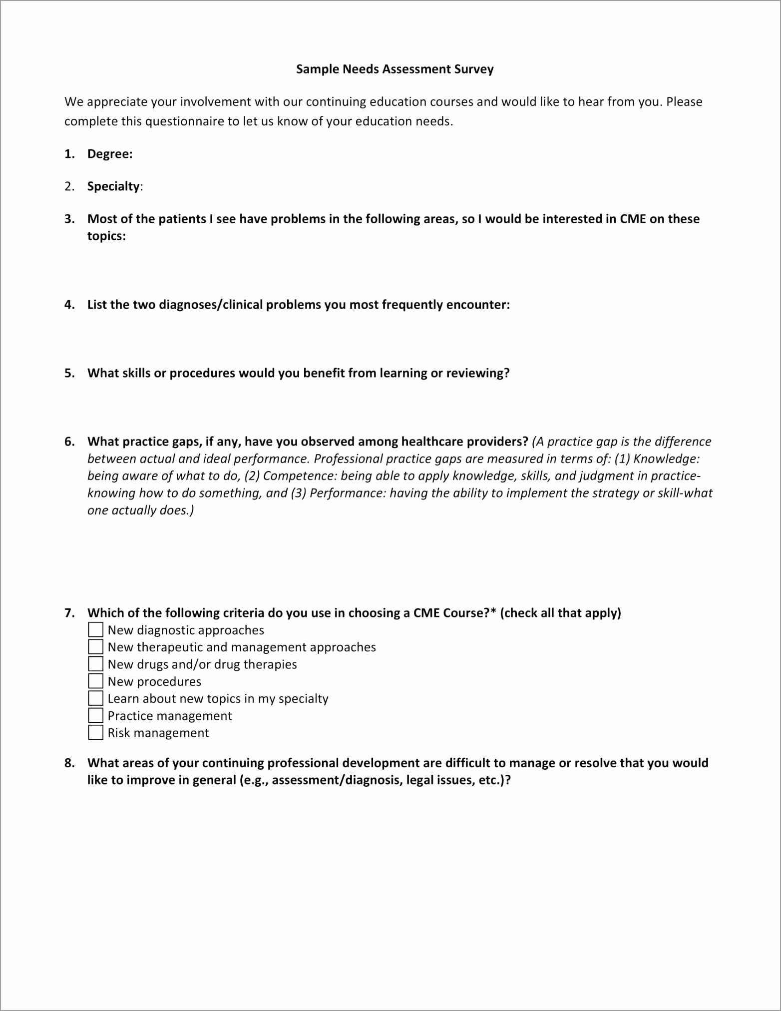 Needs Assessment Survey Example tpwoe
