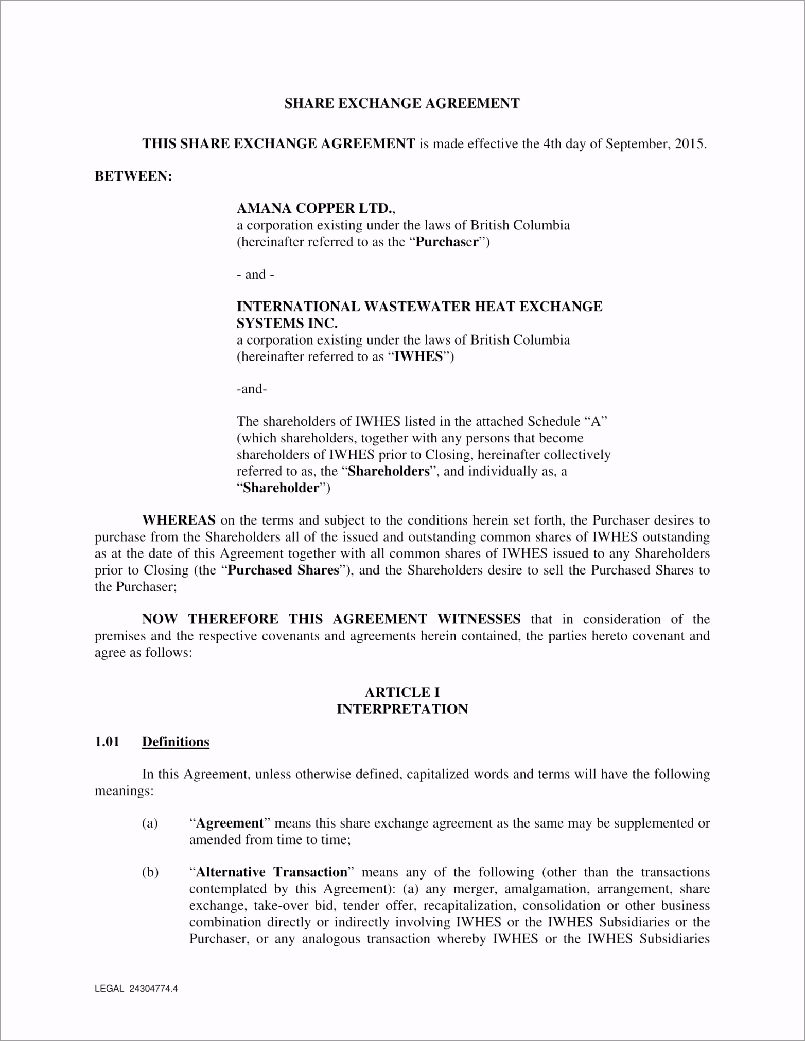Exchange Agreement Form 01 rmpee