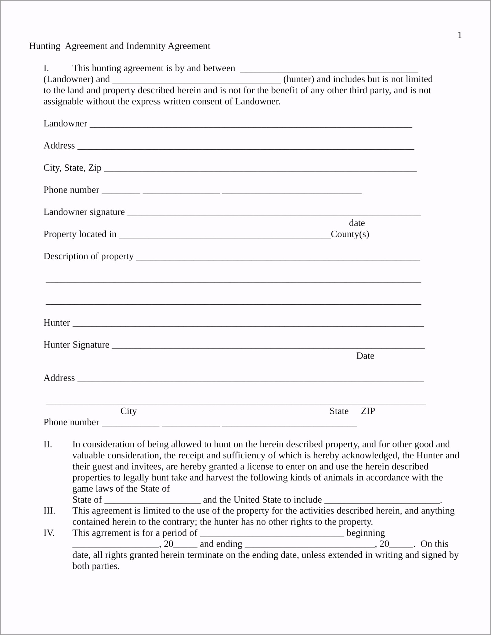 Hunting Agreement Contract Form in DOC 1 wxwue