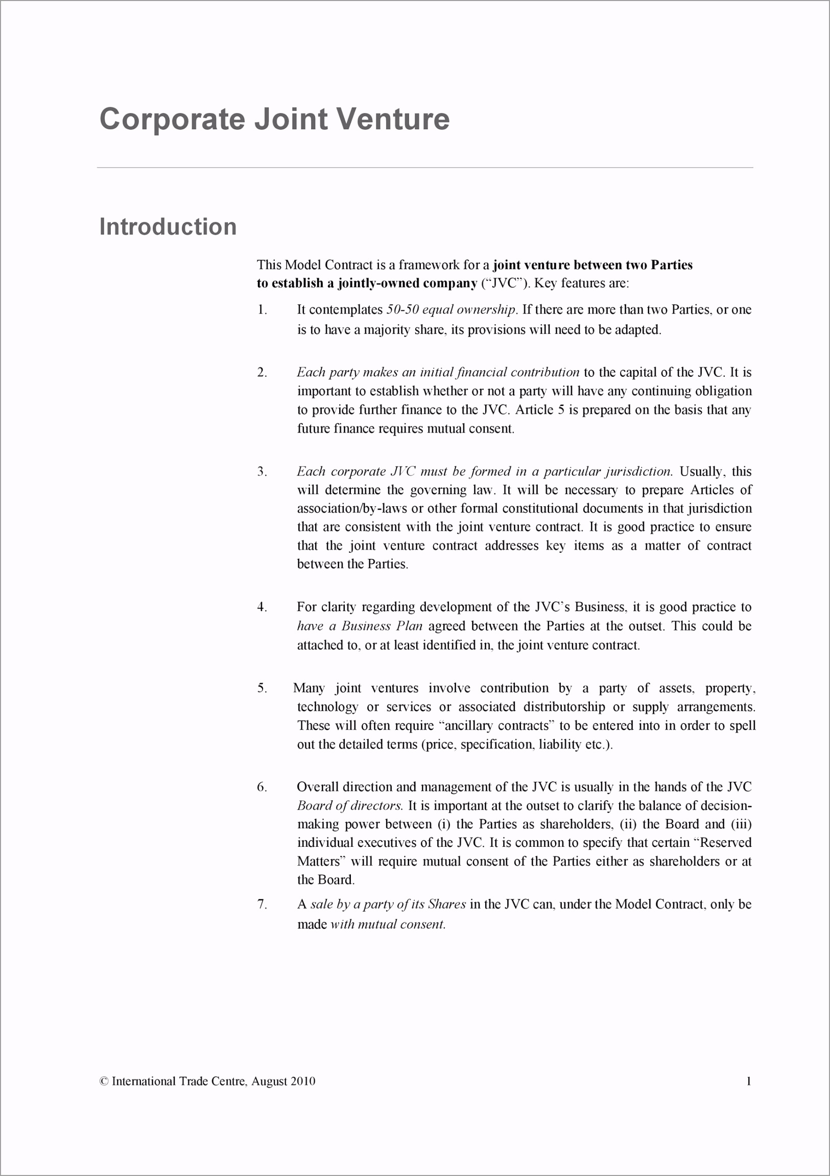 Joint Venture Agreement Template 23 uryky