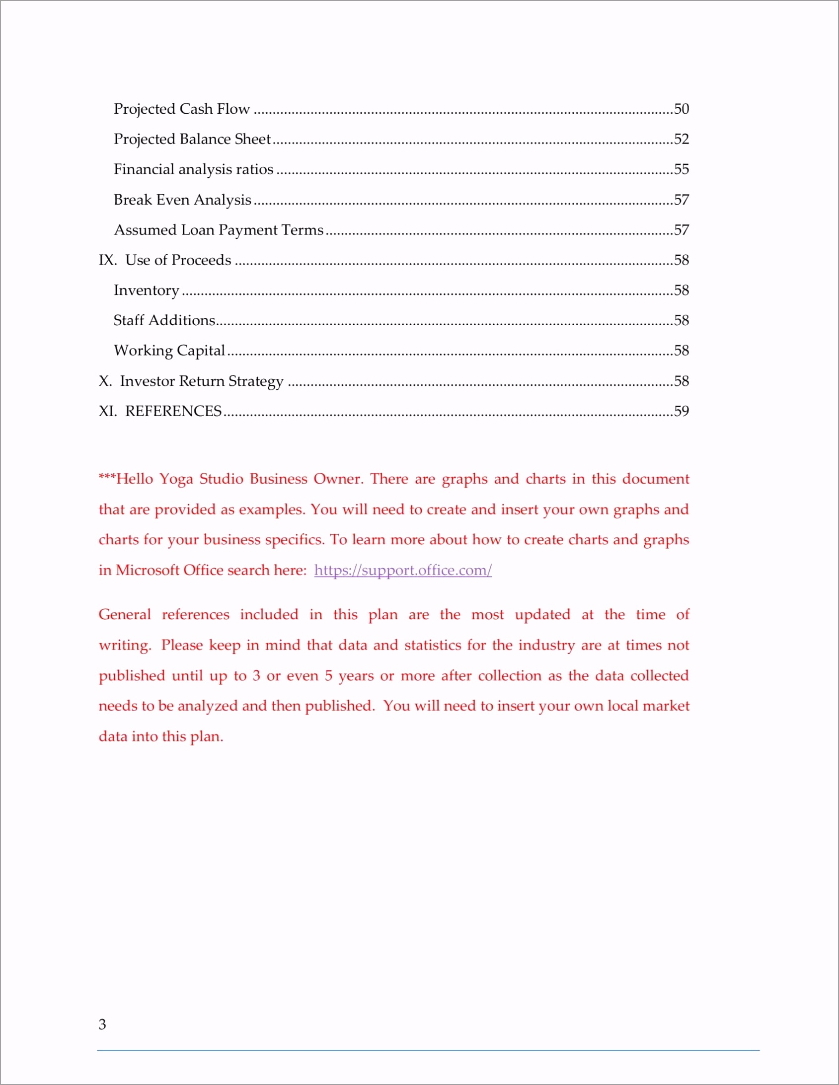 table of contents page 3 YOGA Business Plan Template iysit