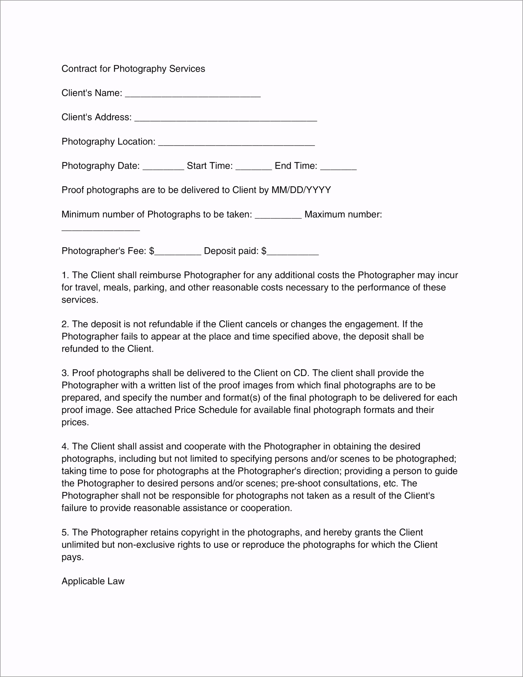 Contract Template 18 ontyr