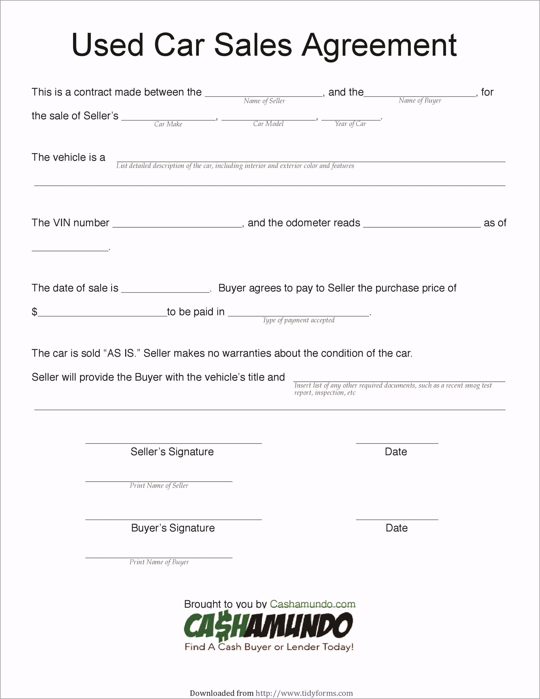 vehicle purchase agreement 25 elrpr