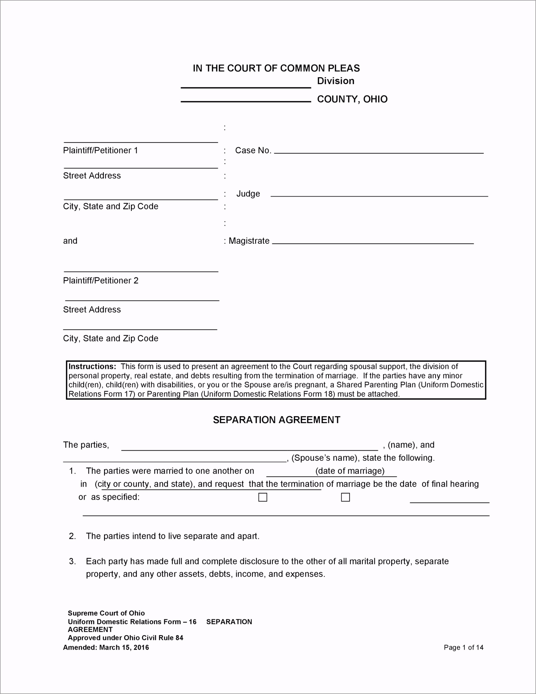Separation Agreement Template 29 iorrw