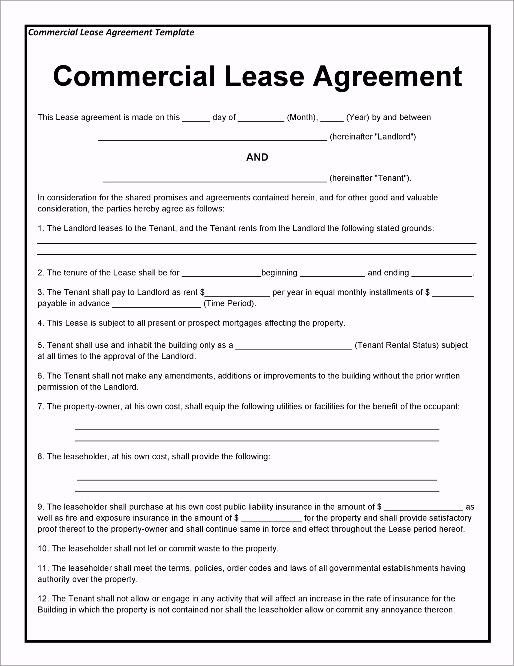 mercial Lease Agreement Template 04 oiyww