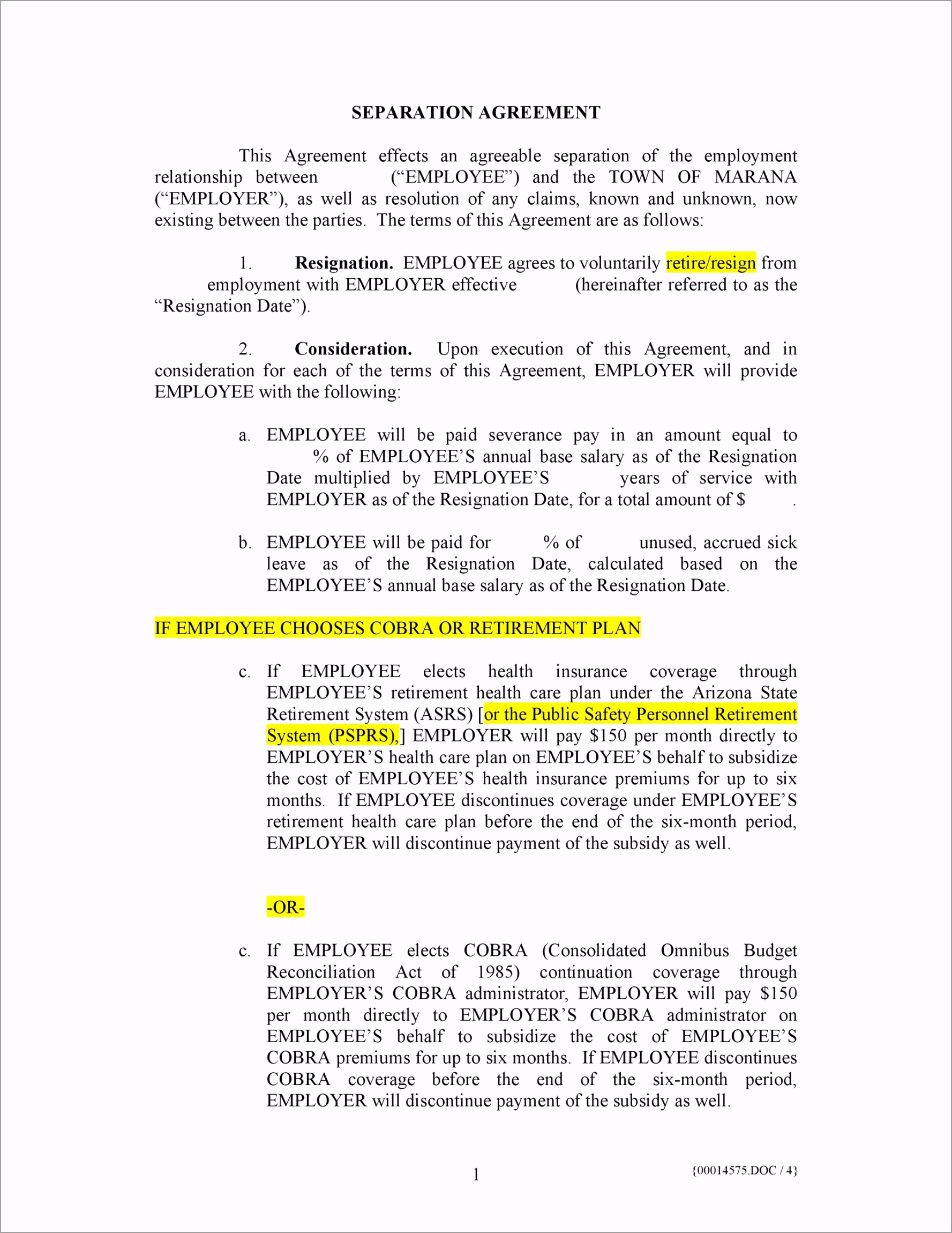 Separation Agreement Template 04 atbeo