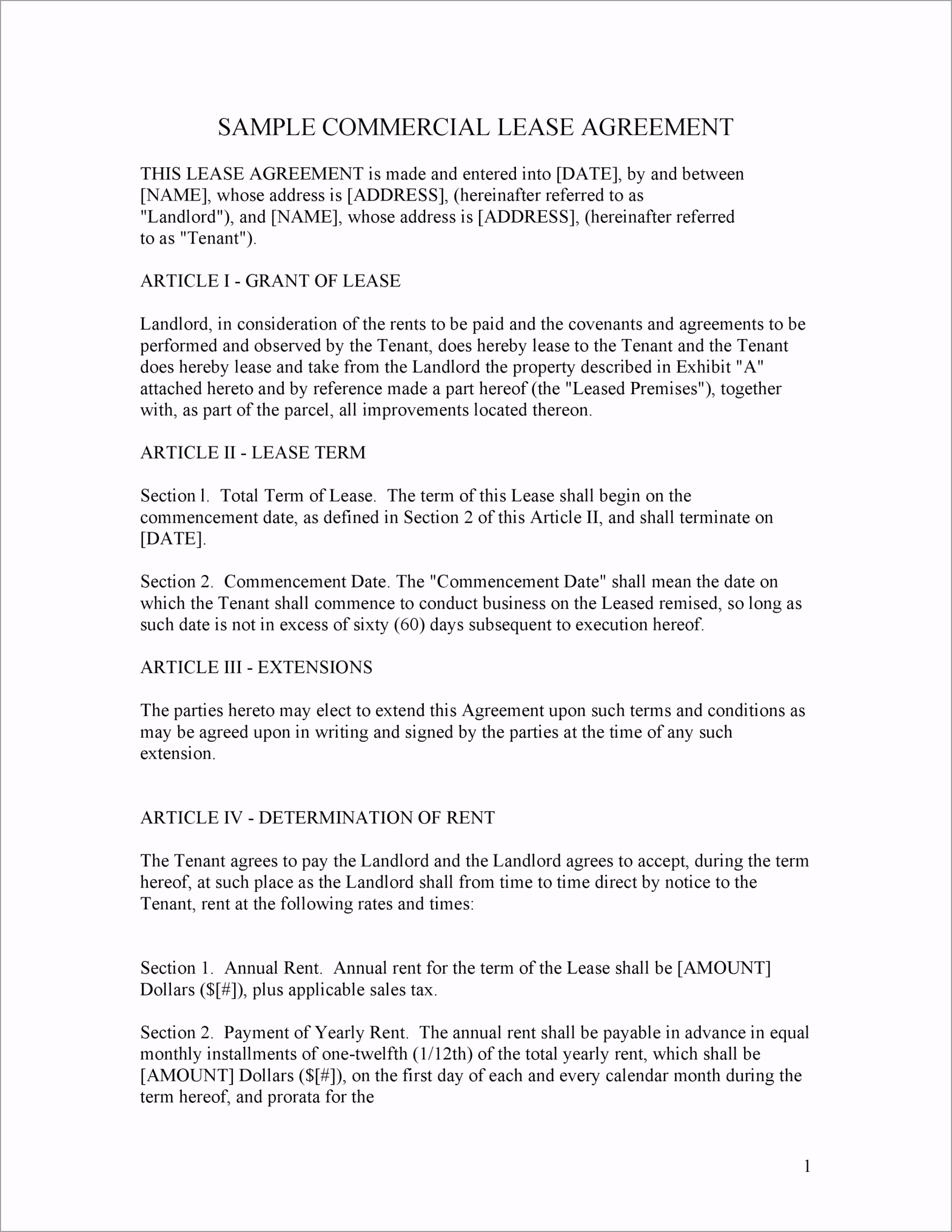 mercial Lease Agreement Template 07 aveoo