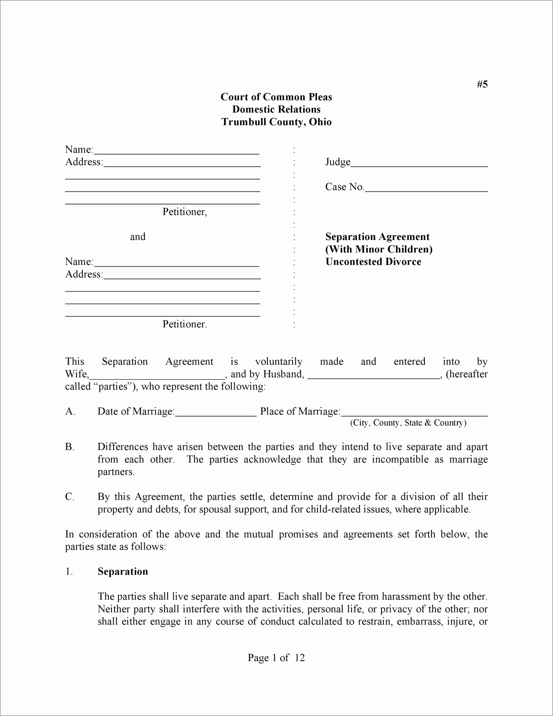 Separation Agreement Template 03 aatur