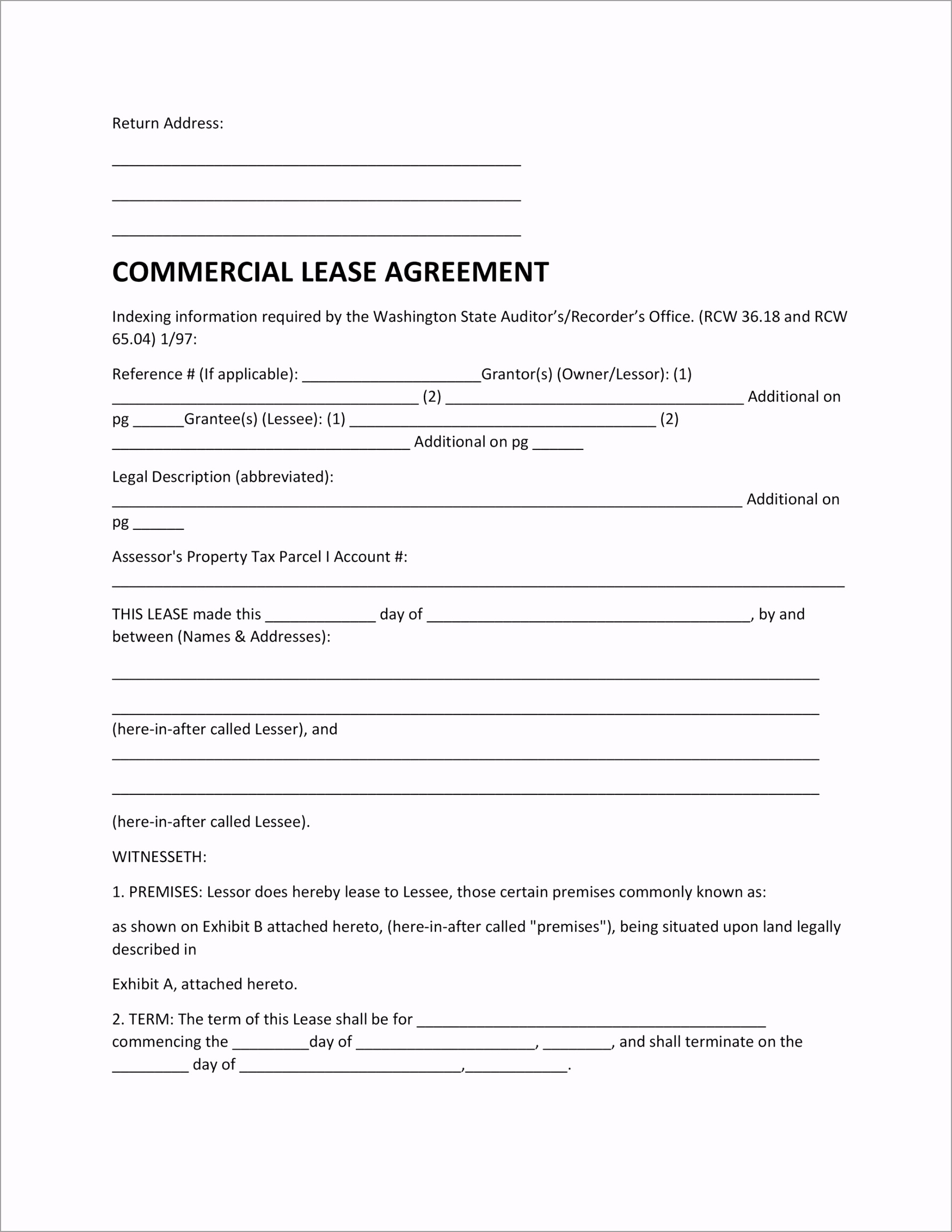 mercial Lease Agreement Template 17 wopne