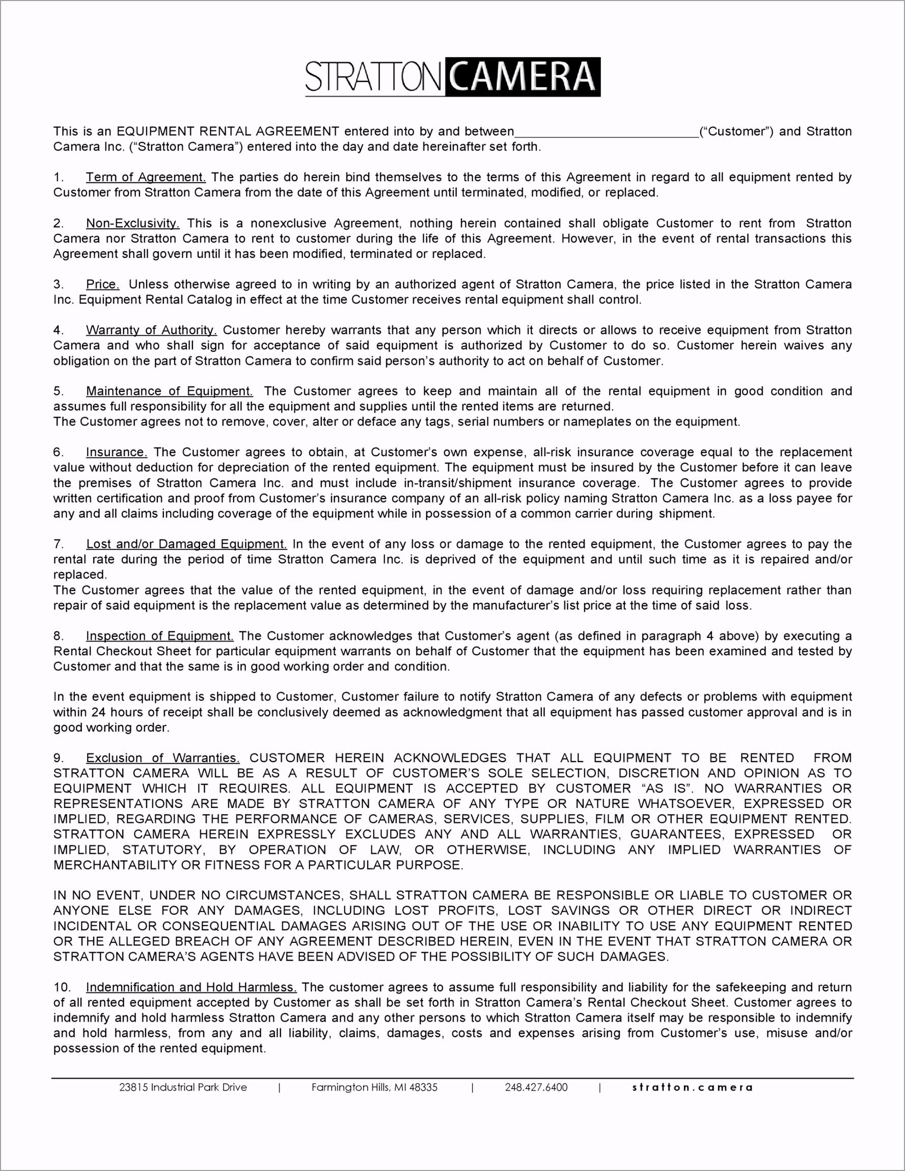 equipment lease agreement 30 rrtta