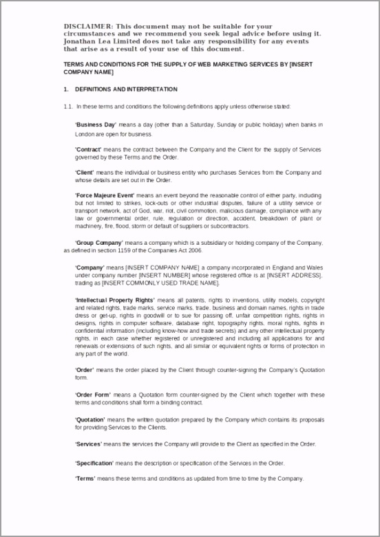 Digital Marketing Agency Service Agreement Template oeiir