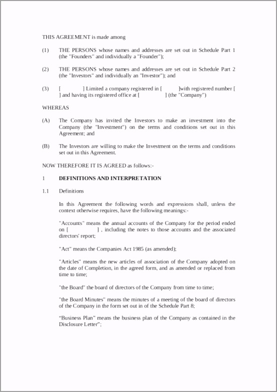 Printable Investment Agreement Contract rauup
