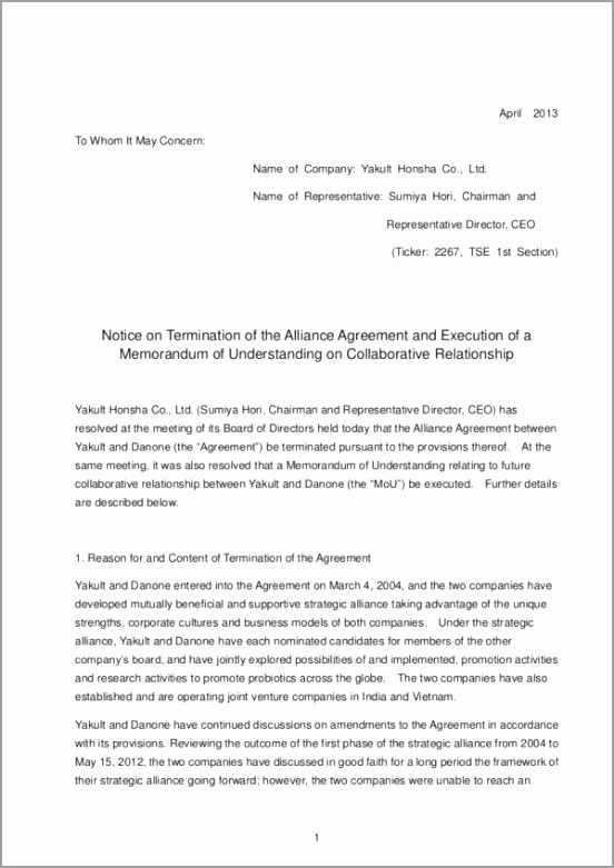 Termination Letter of the Alliance Agreement taipi