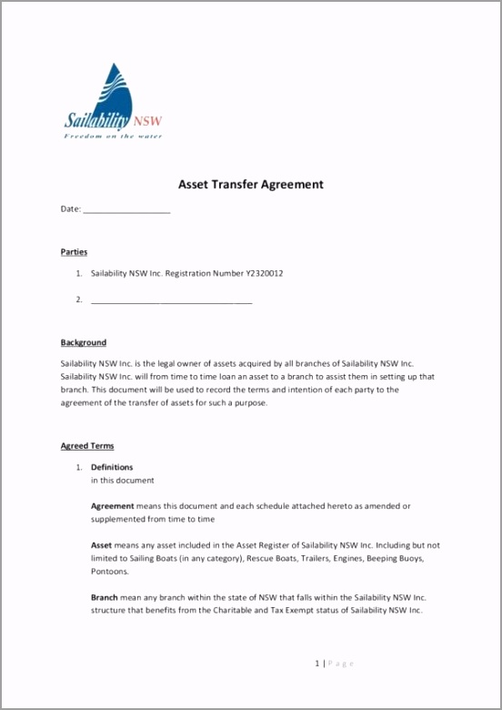 Asset Transfer Agreement Template 001 ieoap