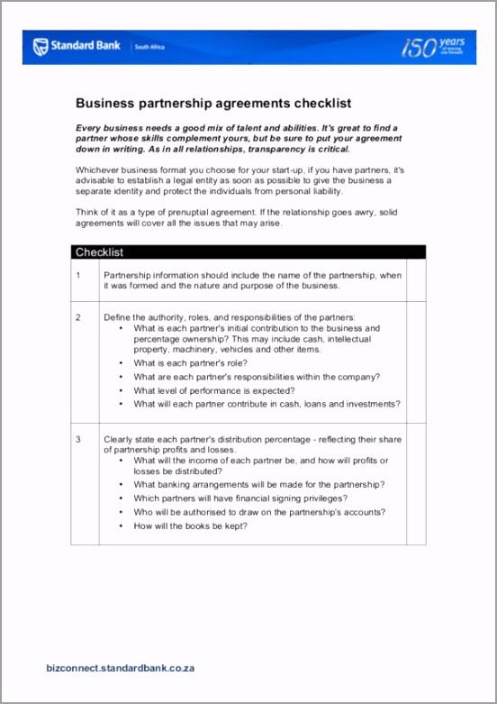 Business Partnership Agreement Checklist Template ayryt