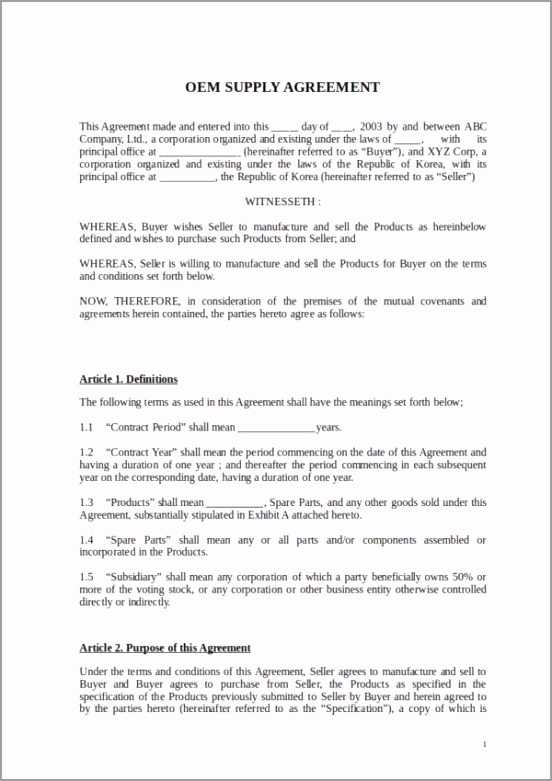 OEM Supply Agreement Template iuyrm