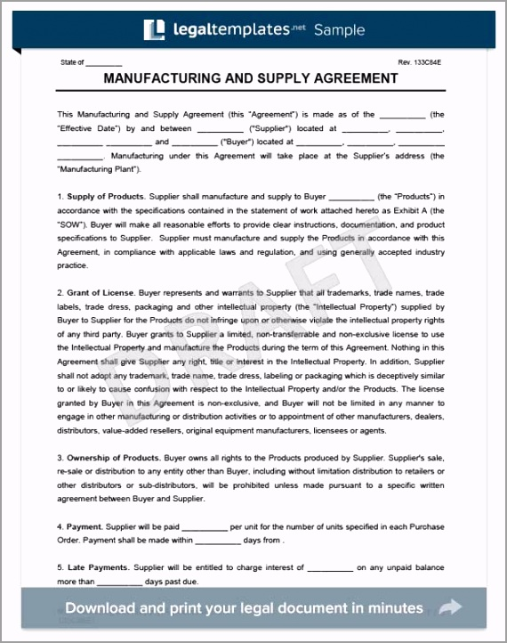 Manufacturing and Supply Agreement Form Template rtsmu