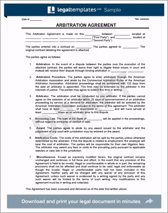 arbitration agreement form template ermur