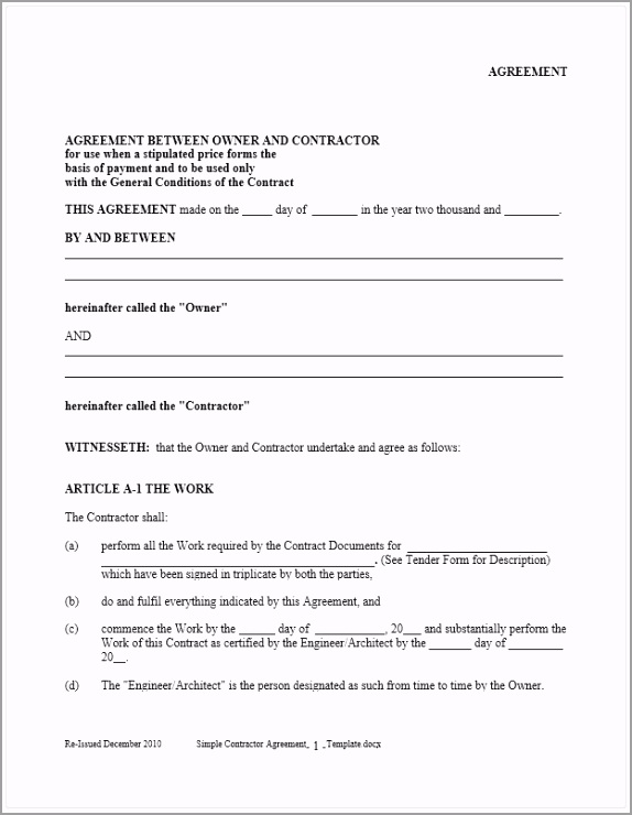 Simple Contractor Agreement Template wyuix