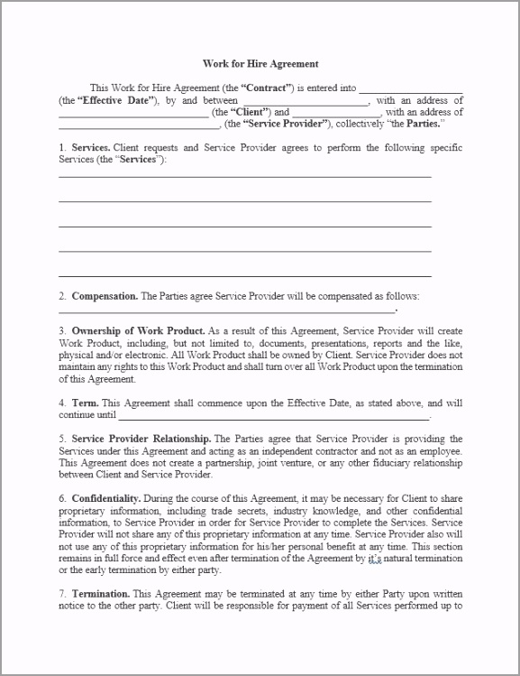 Work for Hire Agreement rtyde