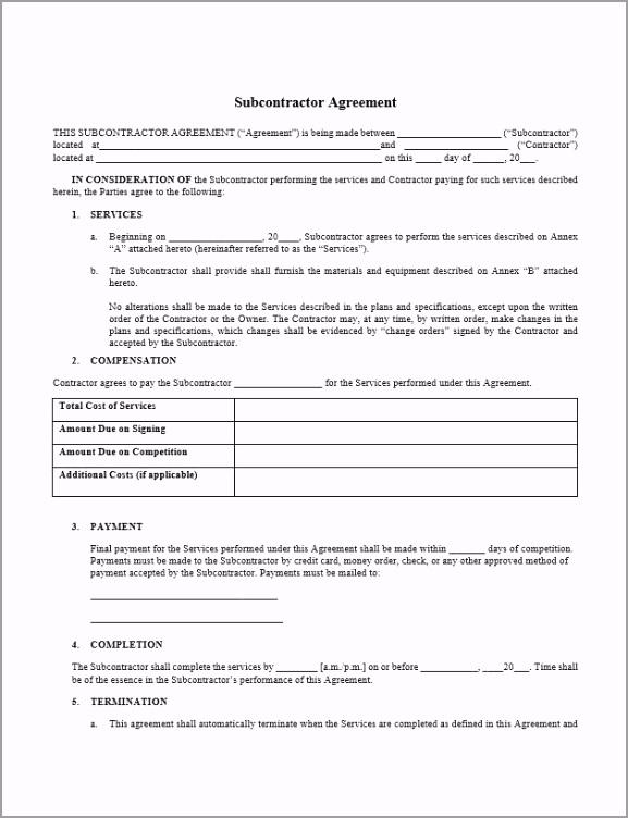 General Subcontractor Agreement Template oeiuw