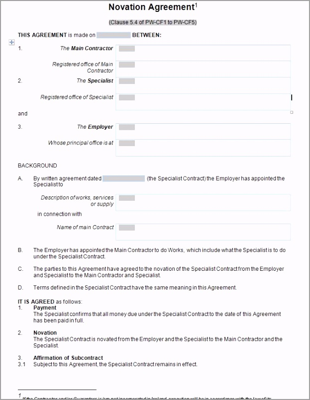 Standard Form Novation Agreement free to print in doc and pdf JPG odweo