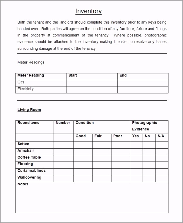 Sample Landlord Inventory Checklist acipp