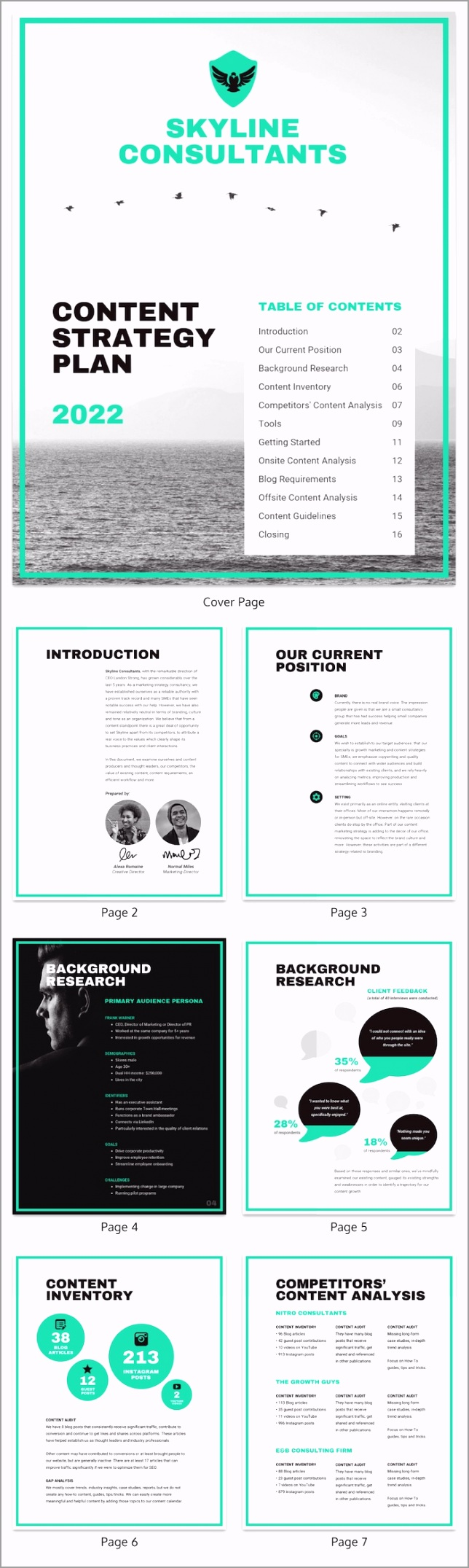 Teal Content Marketing Strategy Plan Template roopt