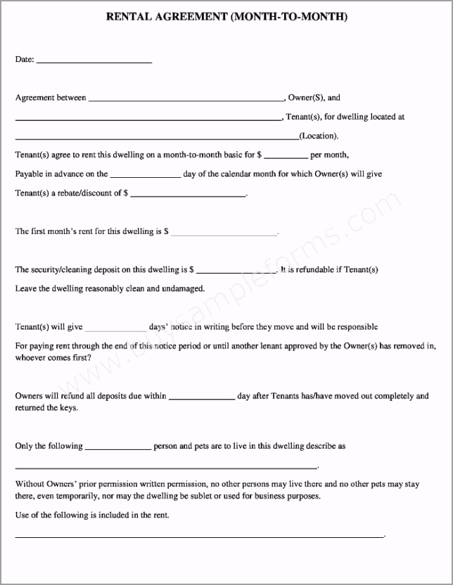 Free month to month rental agreement form ewree