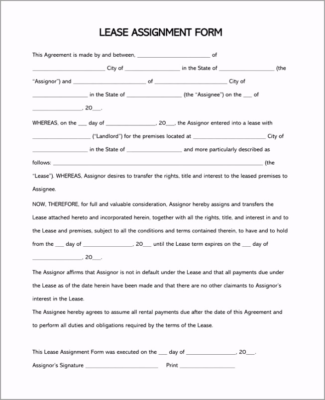 Free Assignment of Lease Form and Template for Word otboi
