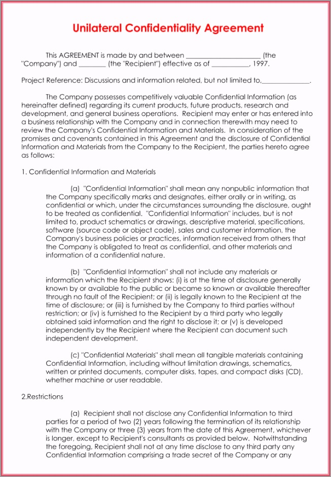 Data Confidentiality Agreement 1 ecpre