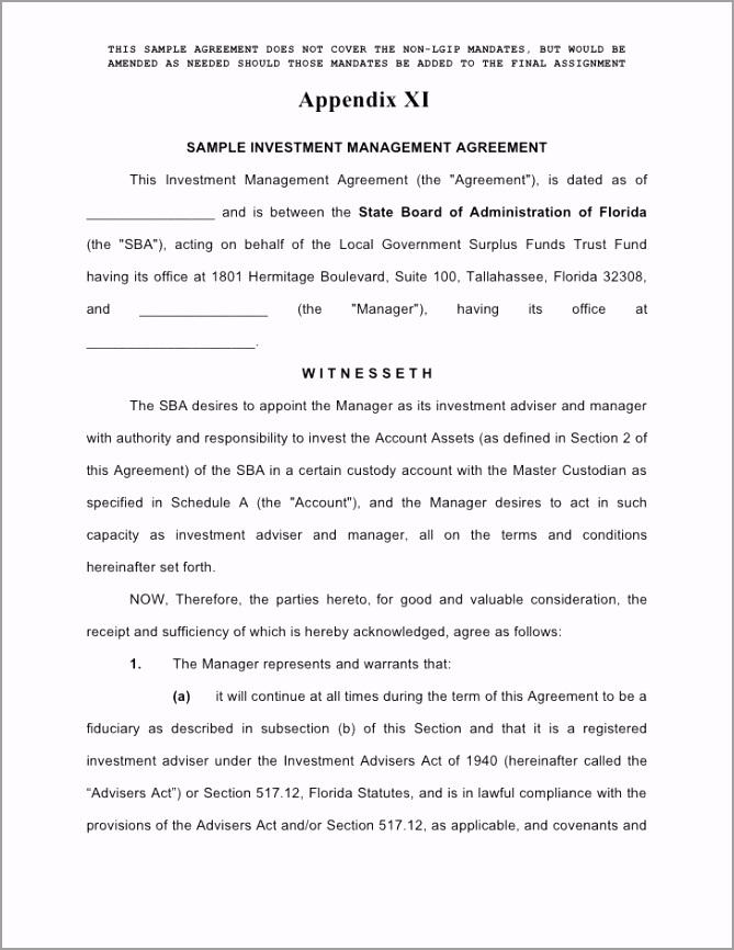 Sample Venture Investment Management Agreement uwpwr