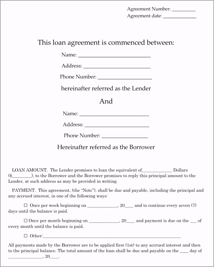 Family Loan Agreement Template ppapj