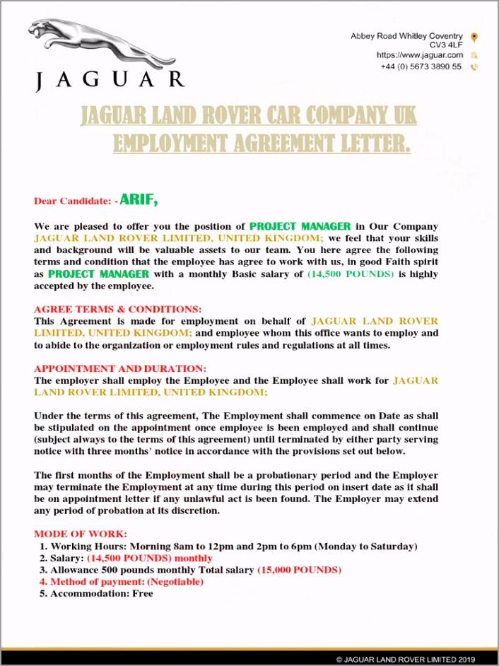JAGUAR LAND ROVER UK EMPLOYMENT AGREEMENT LETTER 1 pdf piywr