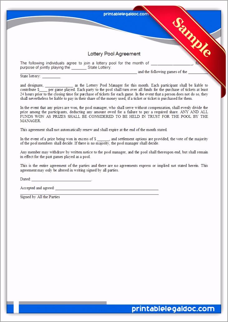 Printable Lottery Pool Agreement Form rtuii