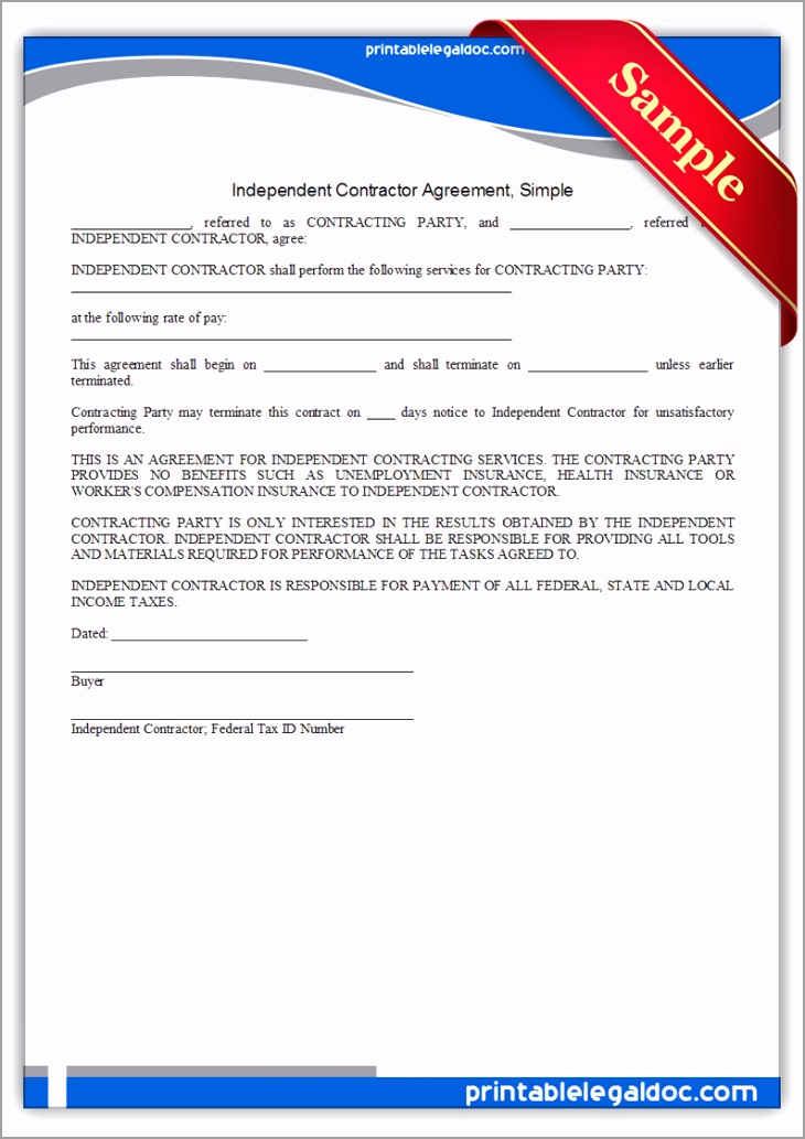Printable Independent Contractor Agreement Simple Form inoae