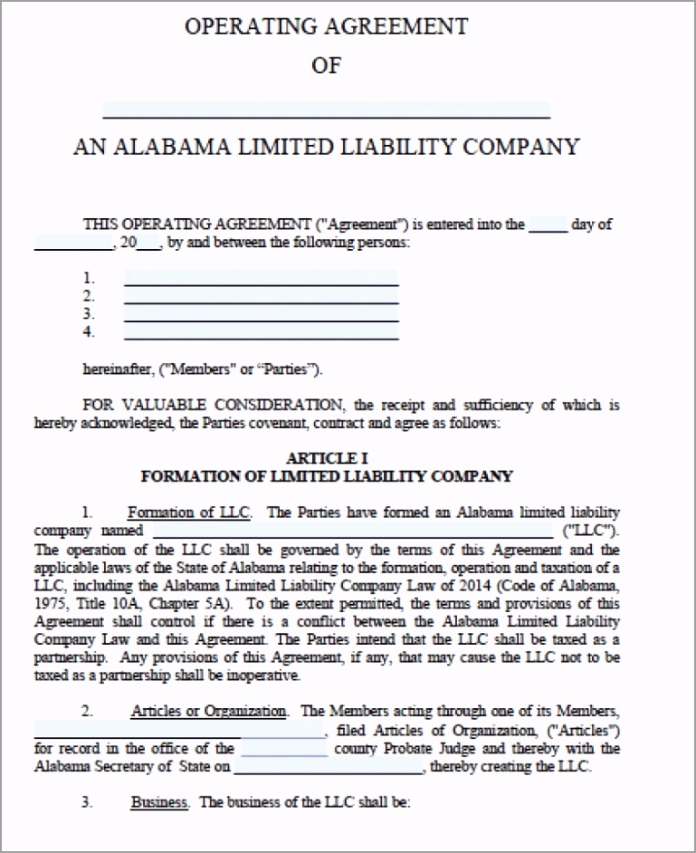 alabama llc operating agreement form 836x1024 eraev