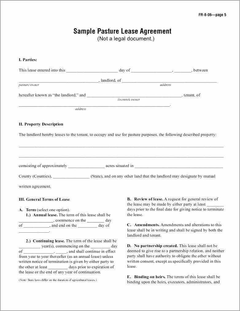 Sample Pasture Lease Agreement 1 uayeo