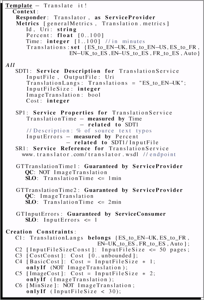 WS Agreement template of the translation service scenario using a human friendly syntax fig6 uwarw
