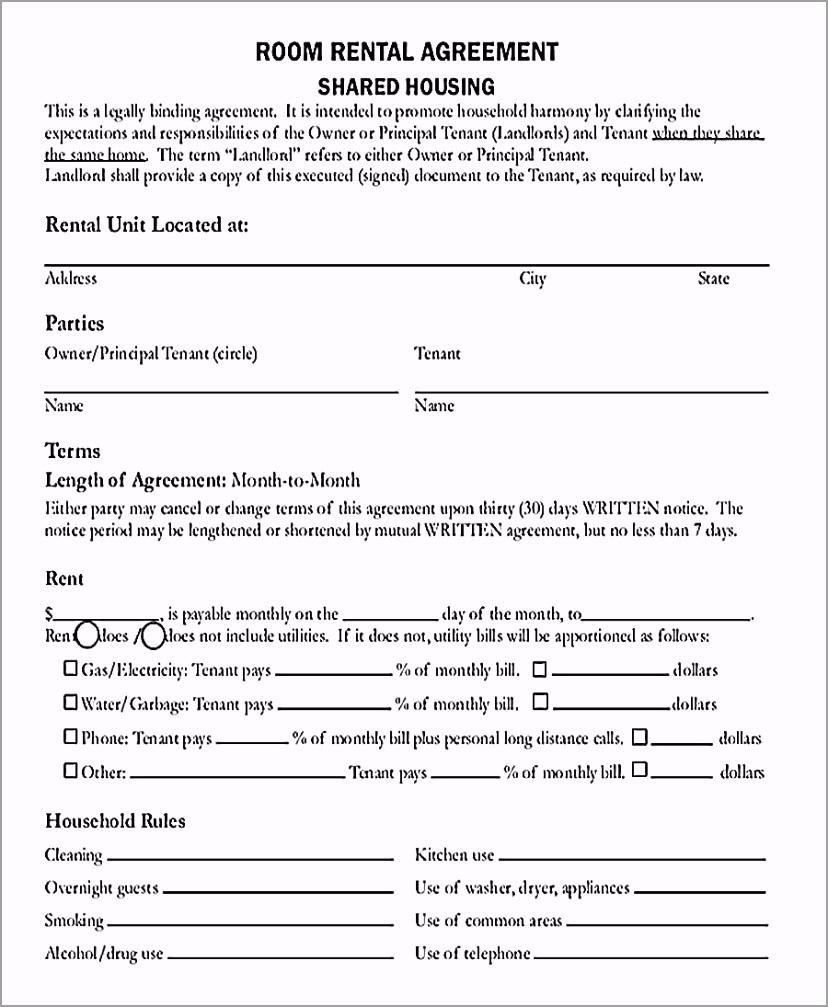Room Rental Agreement PDF Free Download tirya