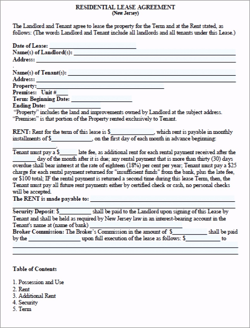 new jersey standard residential lease agreement version 2 rregr