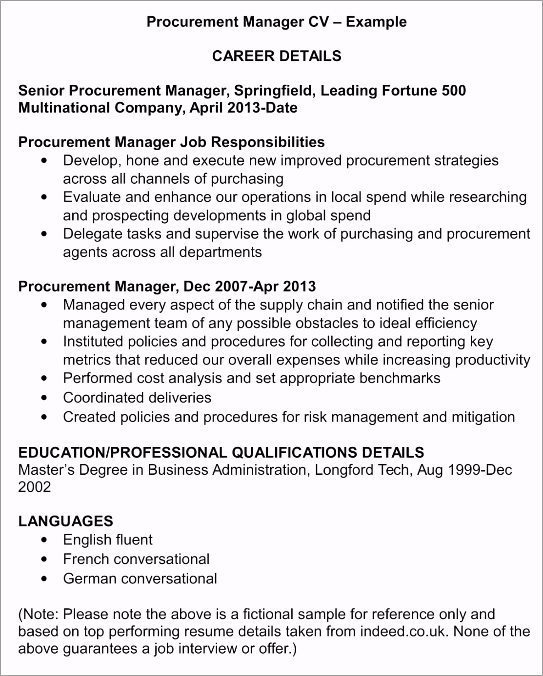Procurement Manager CV Template Example 1 1 e wooyo
